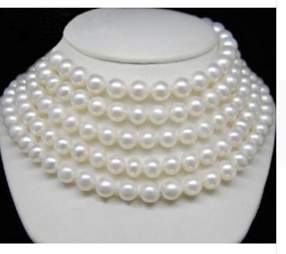 Femmes cadeau mot bijoux pouce or fermoir énorme belle AAAA + 9-10 MM mer du sud blanc perle collier LONG 90 pouces