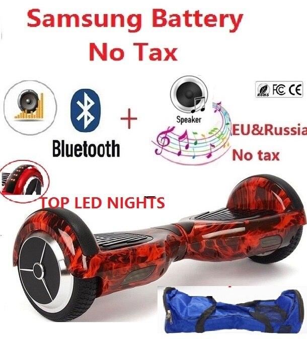 Reborn 6.5 Дюймов Электрический скутер Hover доска Samsung батареи скутер с Bluetooth динамик и топ светодиодный свет скейтборд