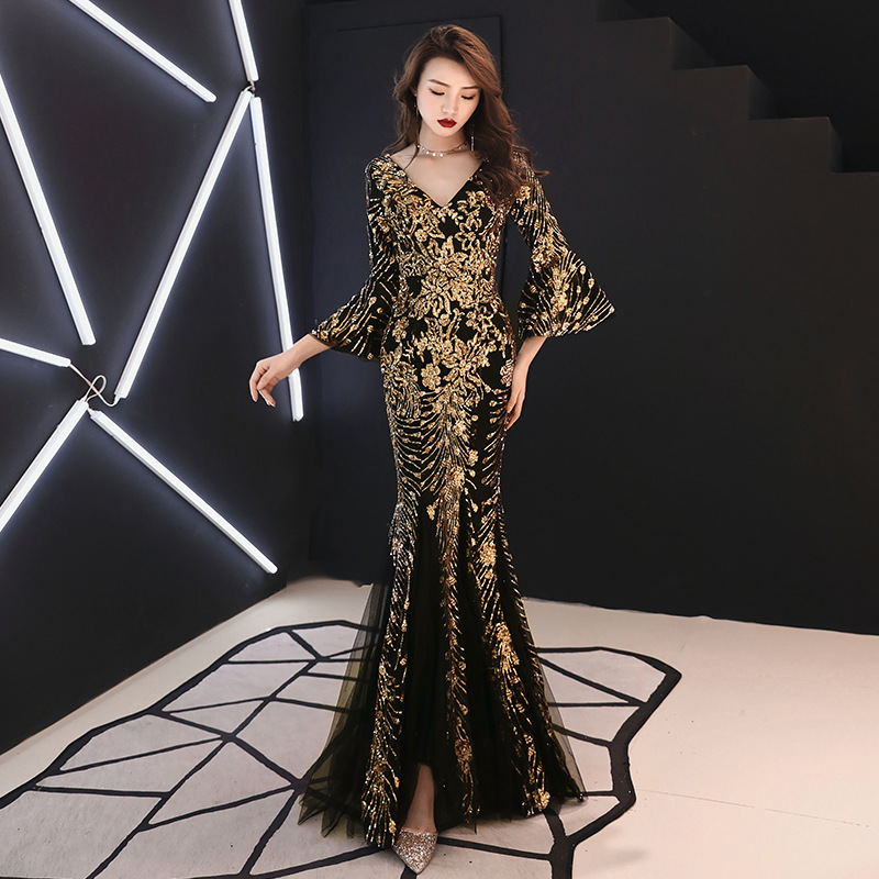 Champagne Evening Dress Gold Sequins Charming Formal Trumpet Party Gown V neck Flare Sleeve Long Black Mermaid Prom Dresses E063