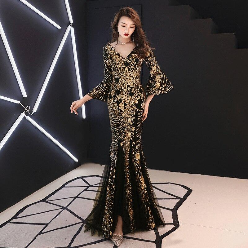 Robe de soirée Champagne paillettes d'or charmante robe de soirée trompette formelle col en v manches évasées longues robes de bal sirène noire E063
