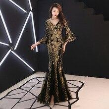 Vestido de baile sereia ouro champagne, vestido formal de festa com lantejoulas douradas decote em v manga longa preto e063