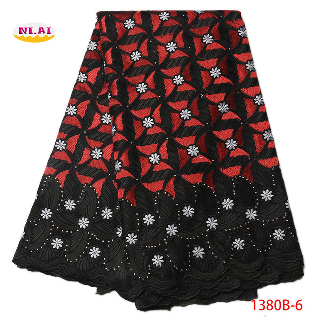 2018 African cotton lace fabric swiss voile lace high quality With Stones Swiss Voile Lace In Switzerland lace trim NA1380B-1