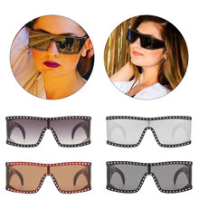 Women Fashion One Piece Goggles Men Punk Rectangle Gafas de sol UV400 Diamond Decorate Steampunk Sunglasses