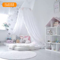 CLOVER LANGUAGE Nordic White Dome Bed Nets Kid Boys Girls Kids Room Decoration Baby Bed Round