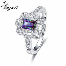 lingmei 2019 New Fashion Classic Multicolor & White Purple Zircon Silver Ring Size 6 7 8 9 Jewelry For Women Pretty Gifts