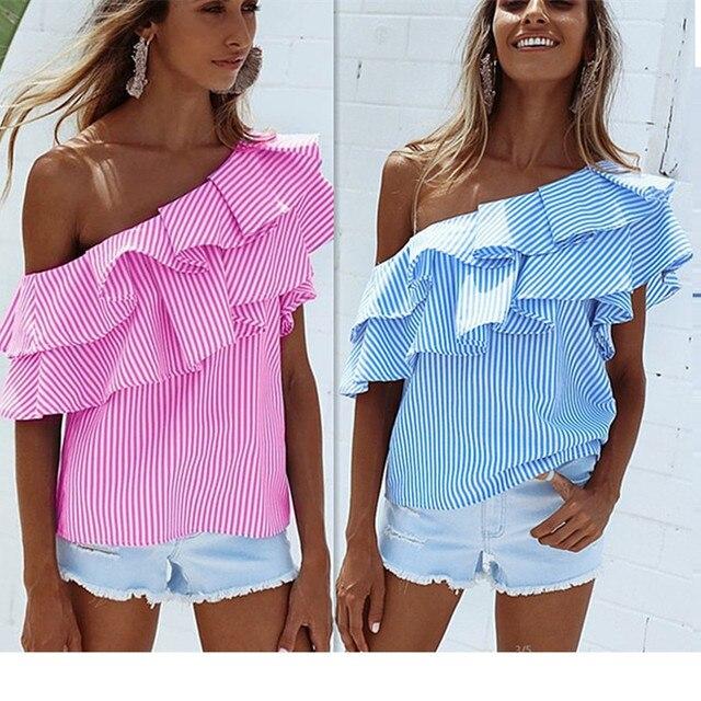 0d8aacb0a515b 2018 Fashion Sleeveless Women Blue Pink Casual Striped Off Shoulder Tops  Sexy Ladies Summer Cute short ruffles Sleeve T-shirt