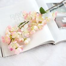 Artificial Flowers Cherry Blossoms Plastic Fake Plants Home Wedding Diy Decoration Silk Small Holding Bouquet Decor Japan