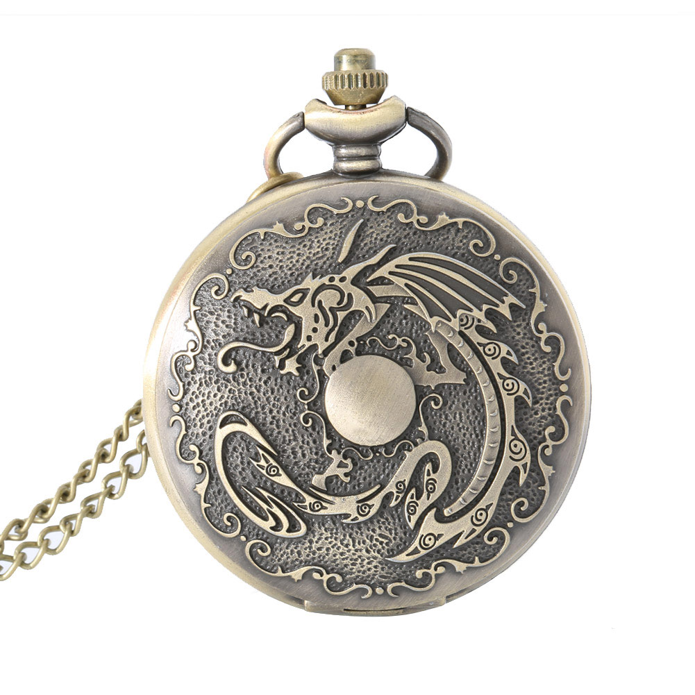 Pocket Watch Gift Vintage Dragon Alloy Pocket Watch Necklace Chain Quartz Fob Watches Men Women Birthday Gifts For Father  LL@17 2016 aladdin and the magic lamp watch the young men and women fashion quartz pocket watch table birthday gift ds262