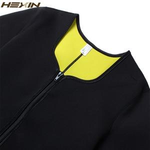 Image 5 - HEXIN זיעה גוף Shaper חולצה תרמו הרזיה סאונה חליפת משקל אובדן שחור Shapewear עם שרוולים Neoprene מותן מאמן