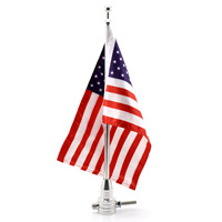 Neverland American USA Tail Luggage Rack Chrome Mount Pole Flag For Harley Custom Cruiser Motorcycle Accessories