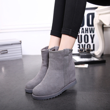 women boots 2018 Upgraded autumn& winter flat bottom increased genuine leather snow boots winter boots student ankle boots student hairy flat bottom warm short boots women winter thickening martin boots black white tie leather flat heel women boots