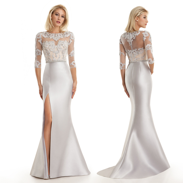 Elegant Long Mermaid Evening Gown Sexy Beaded Slit Silver Mother Of