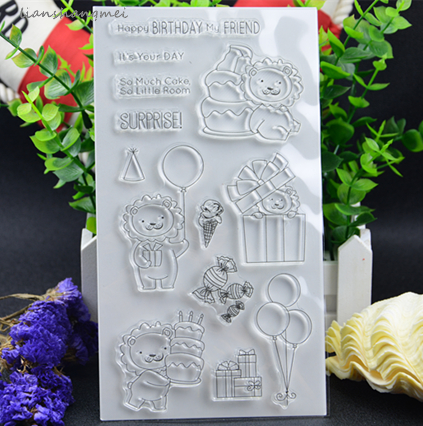 Birthday lion Transparent Clear Silicone Stamp/Seal for DIY scrapbooking/photo album Decorative clear stamp lovely animals and ballon design transparent clear silicone stamp for diy scrapbooking photo album clear stamp cl 278