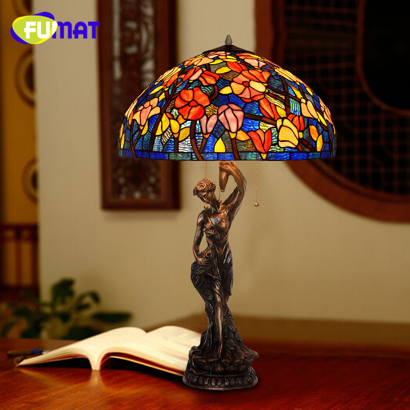 FUMAT Peacock Goddess Copper Base Art Decoration Stained Glass Shade European Retro Creative Bedroom Study Table Lamps