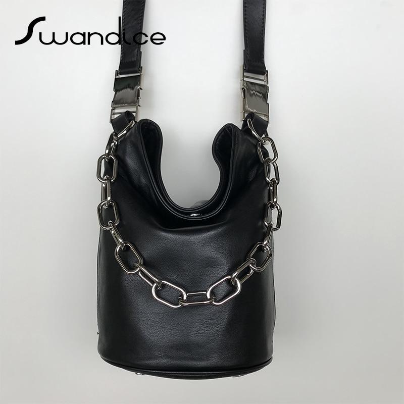 100 Real Cowhide Genuine Leather Big Chain Dry Sack Bucket Handbags Bucket Crossbody Messenger Shoulder Bags