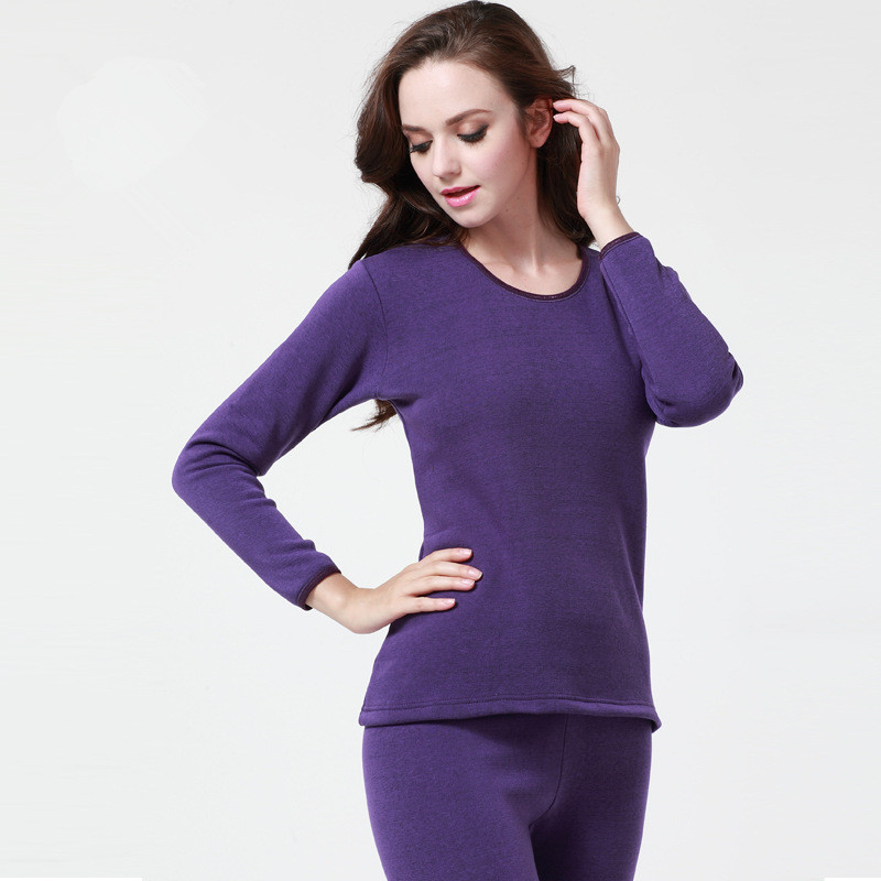 Plus Size Solid O-neck Thermal Underwear For Women Long Johns Second Winter Female Thermal Skin Velvet Thick Men's Warm Suit