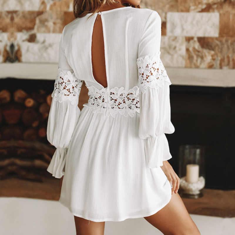 a430473b8026f ... Womens Beach Tunics Lace Summer Cover Ups Swimwear White Cotton Beach  Kaftan Sleeve Sexy Pareo Praia ...
