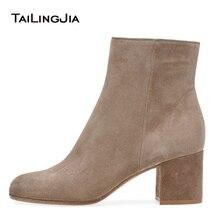 цены Women Round Toe Nude Faux Suede Ankle Booties Block Heel White Mid Heel Short Boots Ladies Black PU Autumn Shoes Botas de Mujer