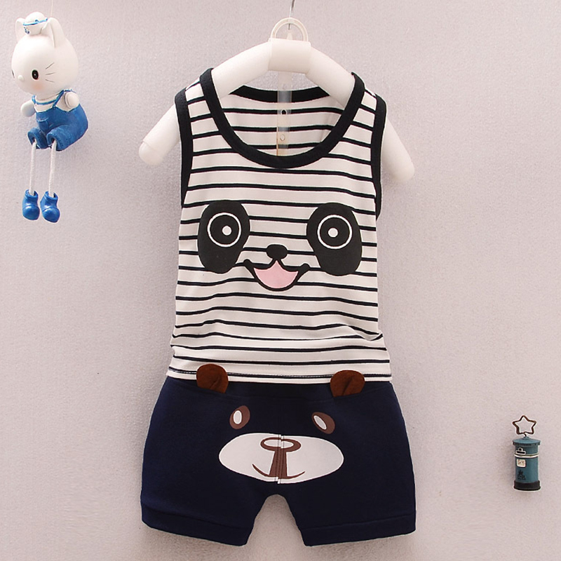 Cartoon Summer 2pcs Toddler Infant Newborn Baby Boy Girl T-shirt Tops+Pants Outfits Set Clothes P15 newborn 0 3 months baby boy girl 5 pcs clothing set cotton cartoon monk tops pants bib hats infant clothes