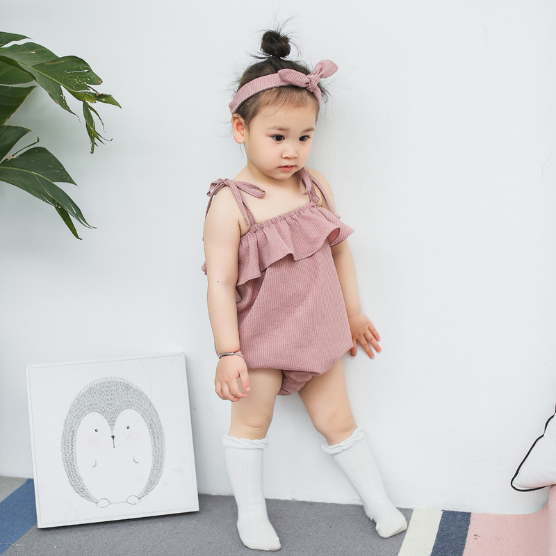 2017 cute Infant Girls rompers Sling Lotus leaf Romper Summer Kids toddler girl romper plain baby rompers headband ruffle 2017 cotton toddler kids girls clothes sleeveless floral romper baby girl rompers playsuit one pieces outfit kids tracksuit