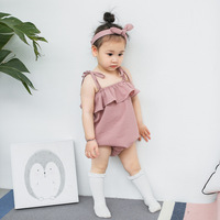 2017 Cute Retail Infant Girls Sling Lotus Leaf Romper Summer Kids Solid Color Cotton Romper Toddler