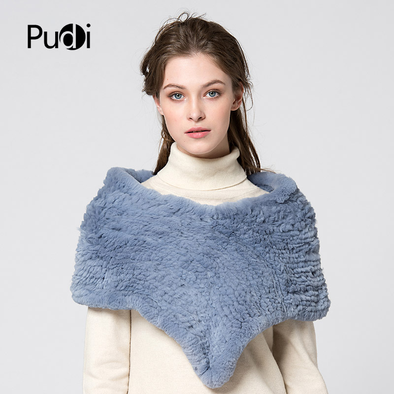 Pudi SF751-1 women rex rabbit fur pashmina shawl 2017 new winter real fur shawl   scarf     scarves     wraps