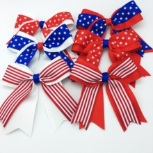 6PCS/SET 4 Girls 4th July  Hair Bows With Clip Accessories Fourth Cheer