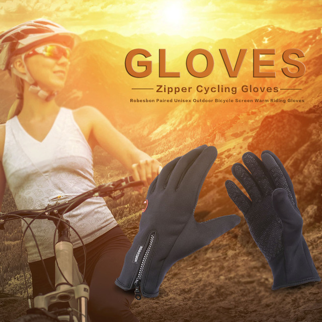 Robesbon Unisex Adult Cycling Gloves Outdoor Bicycle Screen Warm Riding Gloves Water Resistant Windproof Silicone Breathable