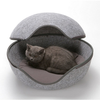 Egg Shaped Cozy Felted Cat Bed Pet House Bed Cozy Cave Pet Baskets Solid Mini Warm Soft Pet Sleeping Bag Dog Kennel Beds Nest