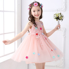Summer Elegant  Flower Girls Dress Kids Baby Pink Lace Tulle Party Wedding Pageant Princess Dresses Children Clothes