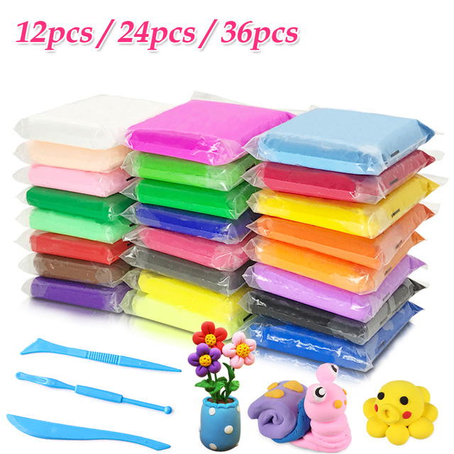 12/24/36pcs/set Colored Clay Polymer Slime Fluffy Light Soft Plasticine Playdough Air 3D Polymer Animal Creative Modelling Clay