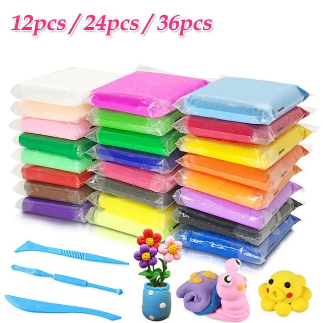 12/24/36pcs/set Colored Clay Polymer Slime Fluffy Light Soft Plasticine Playdough Air 3D Polymer Animal Creative Modelling Clay