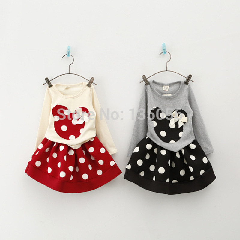 Wasailong Spring and autumnNew Children Girl's 2PC Sets Skirt Suit Minnie Mouse baby sets dots skirt dots pants kids
