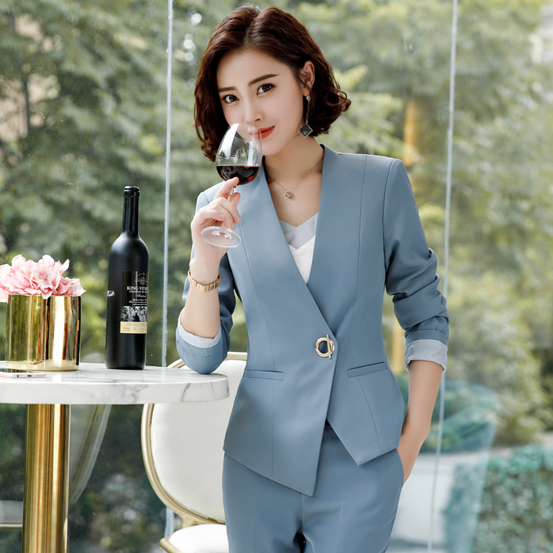 2 Piece Pant Suits Women Office Lady Outfits Business Work Formal Pants Blazer Set Fashion Trousers Jacket Female Coat Clothing-in Pant Suits from Women's Clothing    1