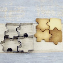 4pcs/lot Stainless Steel Cookie Puzzle Shape Cutters Toast Cutter DIY Biscuit Dessert Bakeware Cake Fondant Mold OK 0987