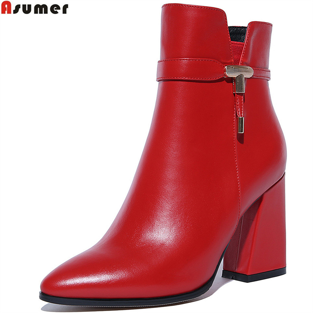 ASUMER autumn winter new arrive women boots pointed toe zipper genuine leather ladies boots square heel cow leather ankle boots asumer black white fashion new women boots pointed toe genuine leather boots zipper cow leather ankle boots low heel shoes