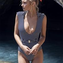 Siamese fashion swimwear women Black and White stripe beautiful triangle bikini halter low top Sexy bathing suit women wire free