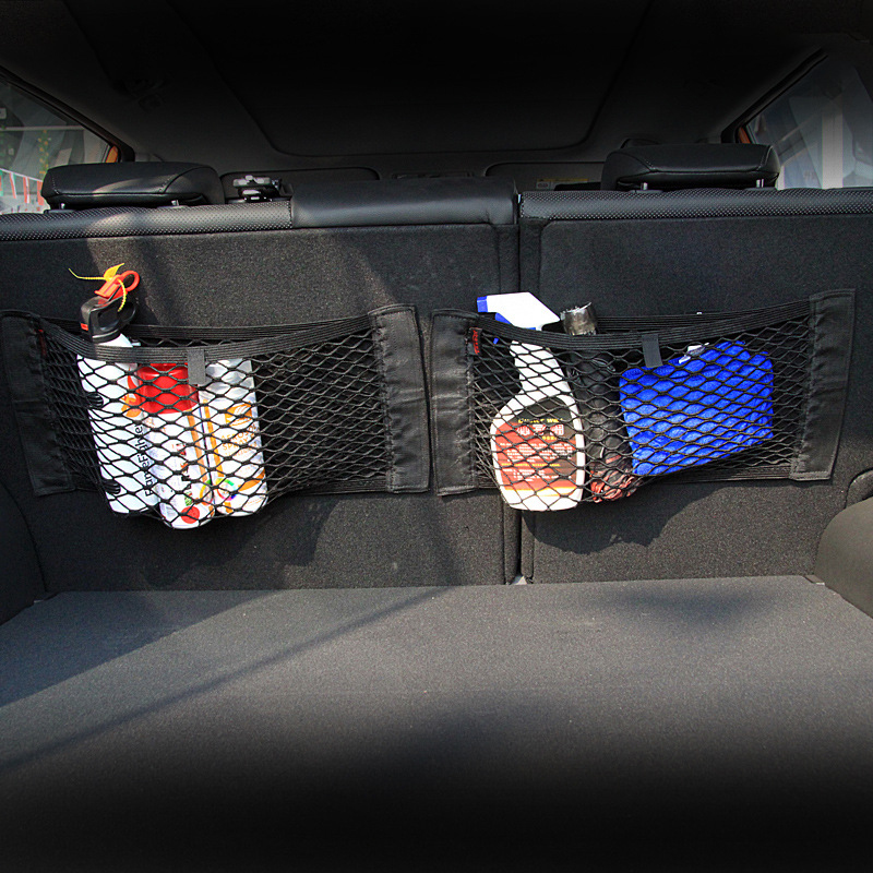 40*25cm Car Back Rear Trunk Seat Storage Bag Mesh Auto Organizer double-deck Elastic String Net Magic Sticker Pocket Bag 2