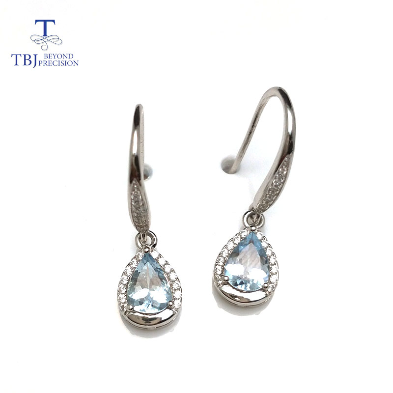 Tbj Water Drop Earring In 925 Sterling Silver With 100 Natural Aquamarine Gemstone