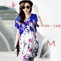 Allegra K Women Flower Pattern Batwing Design Loose Fit Tunic Shirt Loose Blue Printed