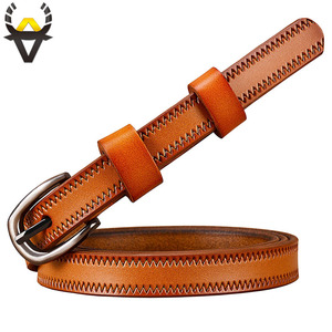 Image 5 - Narrow genuine leather belts for women Fashion Pin buckle waist belt female for jeans Cow skin girdle for dresses width 2.3 cm