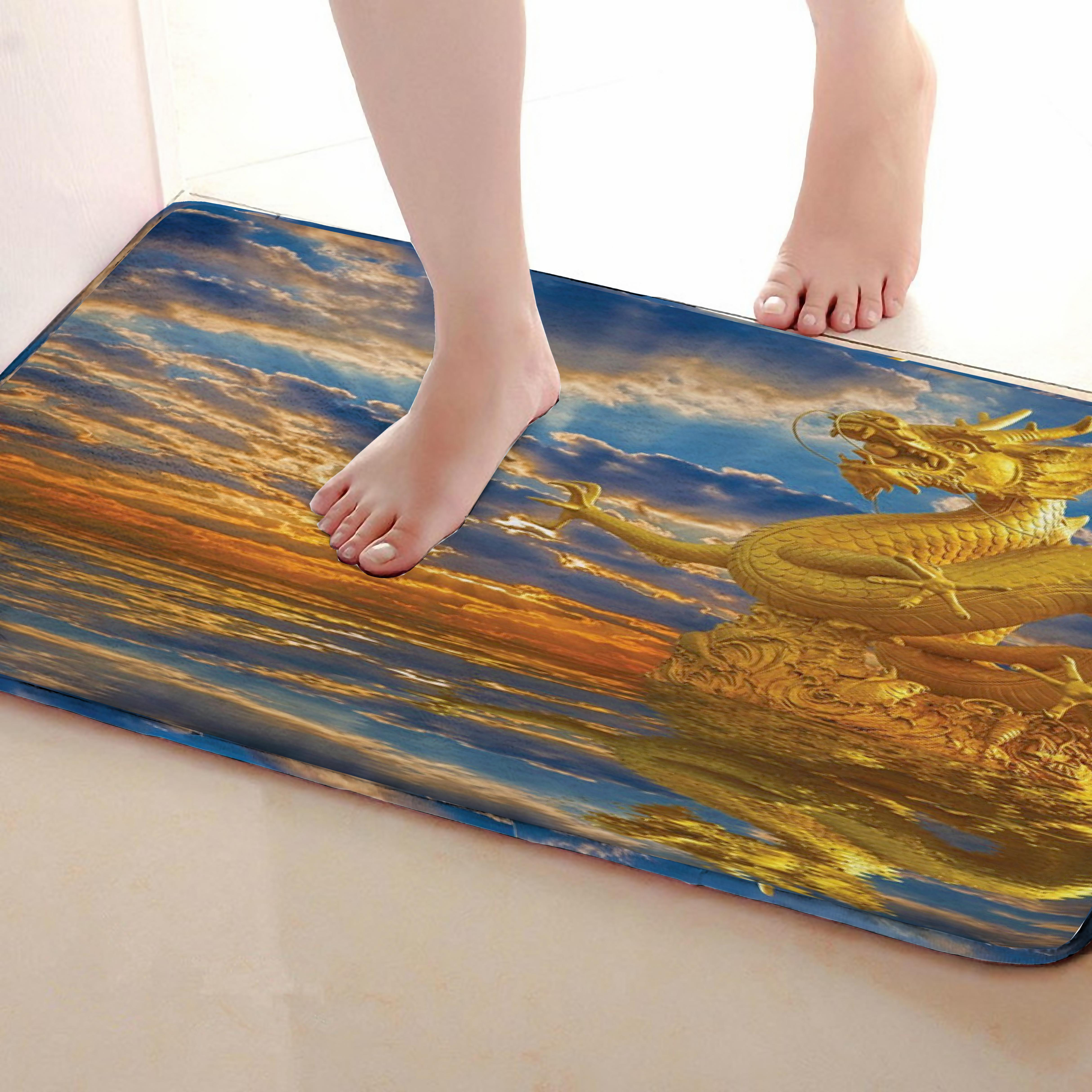 Dragon Style Bathroom Mat,Funny Anti skid Bath Mat,Shower Curtains Accessories,Matching Your Shower Curtain