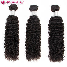 Brazilian Jerry Curly Bundles Human Hair Extensions Curly 3 Bundles Extensions Peruvian Hair Bundles Natural Color Aliblisswig(China)