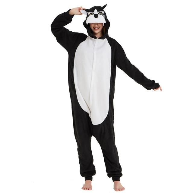 4c6dae33f Black Polar Fleece Panther Kigurumi Adult Onesie Animal Pajamas ...
