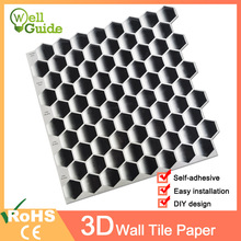 Wall paper 3D Black Grey Marble Mosaic Peel and Self Stickers Waterproof DIY Kitchen Bathroom Home Decal Sticker Vinyl