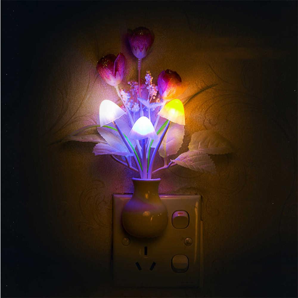 Светодио дный светодиодный датчик света ночной свет для детей домашний декор огни ЕС США светодио дный штекер светодиодный Цвет Изменение ночной светодио дный светодиодный свет гриб лампа Дети
