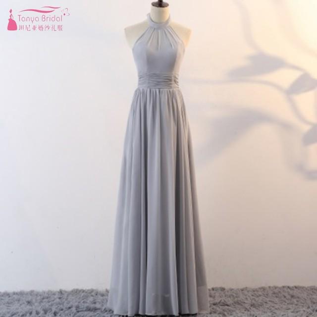 Halter Long Chiffon Bridesmaid Dresses 2019 Simple A Line Silvery Wedding  Guest Dress Gown Formal Wear Women Prom Dress JQ74-3 430a7dee5622