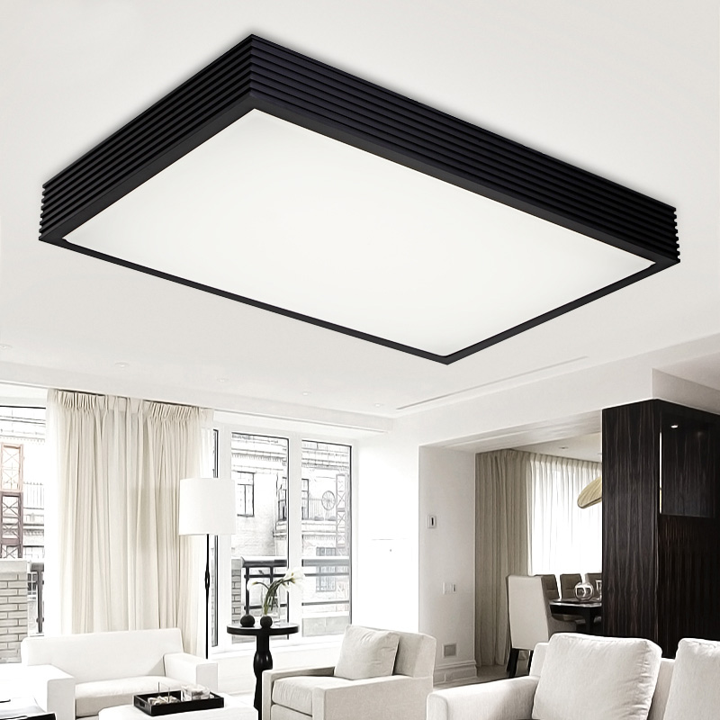 Rectangle living room lamps dimming led ceiling light brief bedroom black/white remoter control lights 3 colors dimming led ceiling light 650x380mm living room lights modern brief bedroom ceiling lamps rectangle indoor lighting