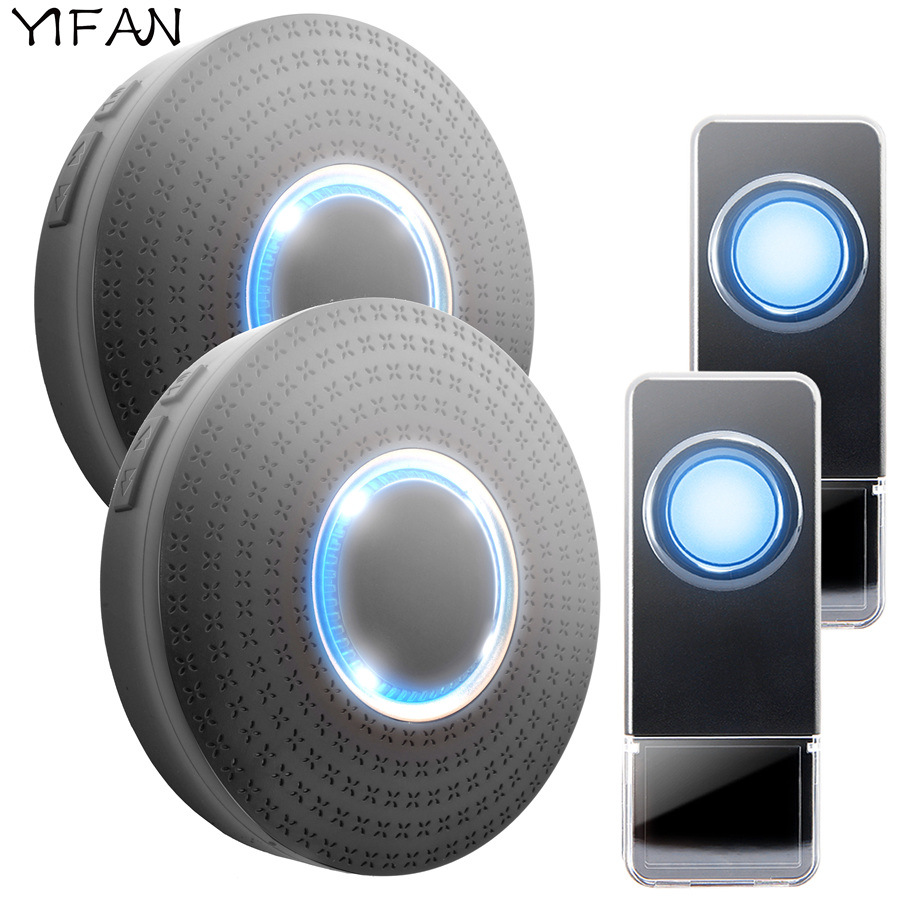 YIFAN Waterproof Wireless Doorbell EU Plug 300M range smart home Door Bell Chime ring 2 button 2 receiver 110v 220V LED light door bell with 36 chimes single receiver waterproof plug in type wireless doorbell cordless smart door bells doorbells