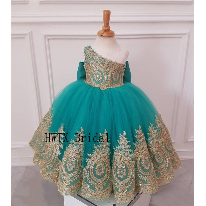 Gold Lace African   Flower     Girl     Dresses   2019 One Shoulder Knot Bow Floor Length Tulle Pageant   Dress   First Communion Ball Gown